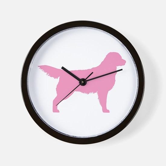 Pink Golden Retriever Wall Clock