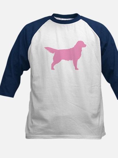 Pink Golden Retriever Kids Baseball Jersey