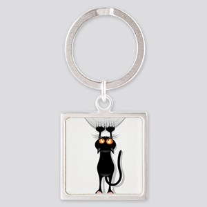 Funny Black Cat Hangin On Keychains