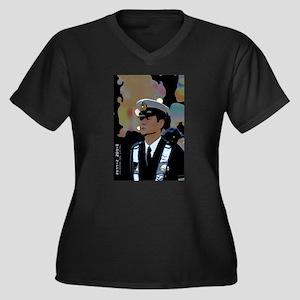Copanese Women's Plus Size V-Neck Dark T-Shirt