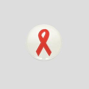 Red Awareness Ribbon Mini Button