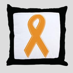 Orange Aware Ribbon Throw Pillow