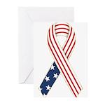 Patriotic Ribbon #2 Greeting Cards (Pk of 10)
