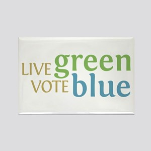 Live Green Vote Blue Rectangle Magnet