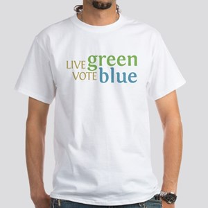 Live Green Vote Blue Tee Shirt (White)