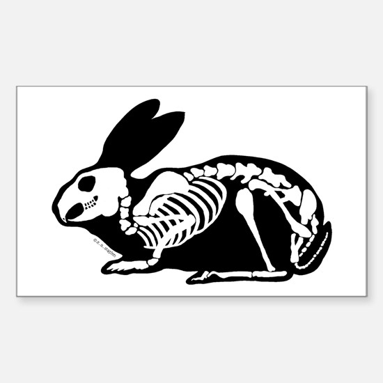 Black Skeleton Rabbit Sticker (Rectangle)