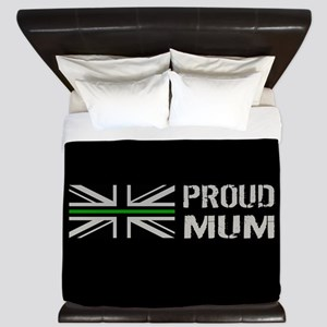 British Flag Green Line: Proud Mum (Bla King Duvet