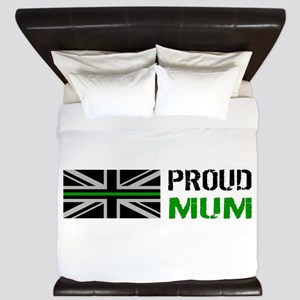 British Flag Green Line: Proud Mum (Whi King Duvet