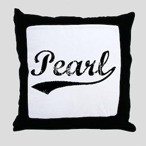 Vintage Pearl (Black) Throw Pillow