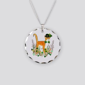 St. Patrick's Day Cat Necklace Circle Charm