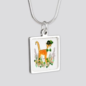 St. Patrick's Day Cat Silver Square Necklace