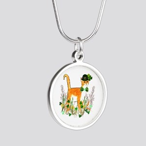 St. Patrick's Day Cat Silver Round Necklace