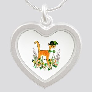 St. Patrick's Day Cat Silver Heart Necklace