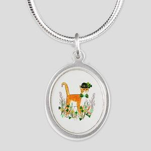 St. Patrick's Day Cat Silver Oval Necklace