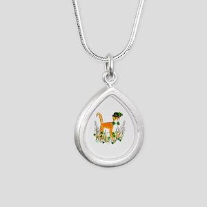St. Patrick's Day Cat Silver Teardrop Necklace