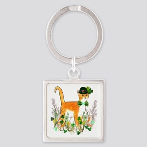 St. Patrick's Day Cat Square Keychain