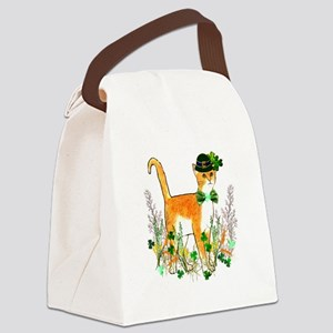St. Patrick's Day Cat Canvas Lunch Bag