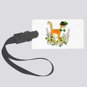 St. Patrick's Day Cat Large Luggage Tag