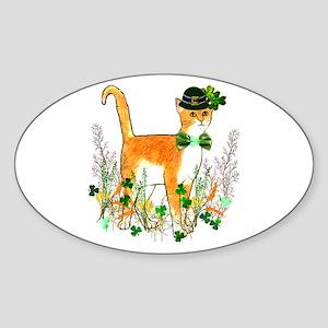 St. Patrick's Day Cat Sticker (Oval)