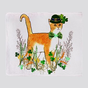 St. Patrick's Day Cat Throw Blanket