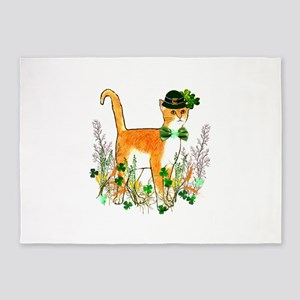 St. Patrick's Day Cat 5'x7'Area Rug