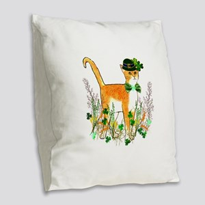 St. Patrick's Day Cat Burlap Throw Pillow