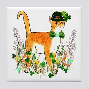 St. Patrick's Day Cat Tile Coaster