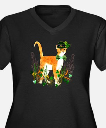 St. Patrick' Women's Plus Size V-Neck Dark T-Shirt