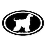 Afghan Hound Oval (white on black) Oval Sticker