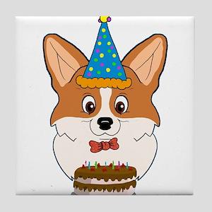 Happy Birthday Corgi Tile Coaster