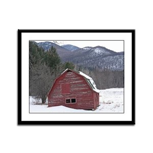 Adirondack Barn In The Snow Framed Panel Print