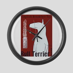 Bull Terrier Tea Large Wall Clock