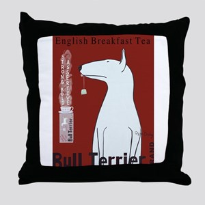 Bull Terrier Tea Throw Pillow