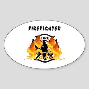 Firefighting Flames Sticker (Oval)