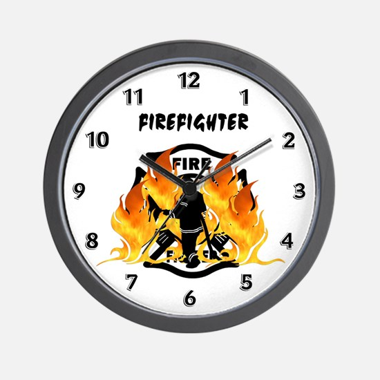 Firefighting Flames Wall Clock