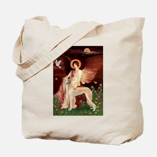Seated Angel with a Saluki Tote Bag