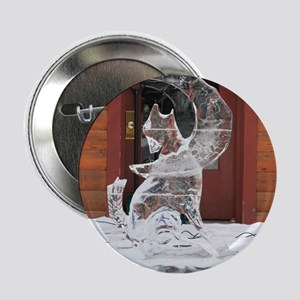 """Ice Sculpture Howling Wolf 2.25"""" Button"""
