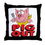 Pig Out Throw Pillow