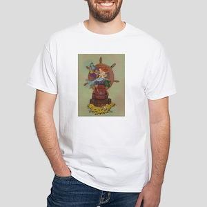 Pirate & Mermaid White T-Shirt (With Toast)