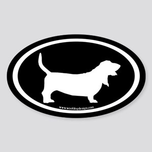 Basset Hound Oval (white on black) Oval Sticker