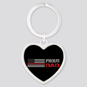 Firefighter: Proud Dad (Black) Heart Keychain