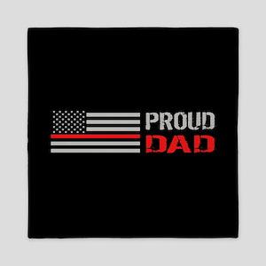 Firefighter: Proud Dad (Black) Queen Duvet