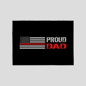 Firefighter: Proud Dad (Black) 5'x7'Area Rug