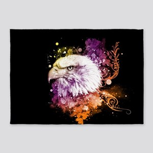 Awesome eagle with flowers 5'x7'Area Rug