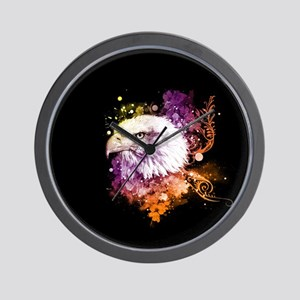Awesome eagle with flowers Wall Clock