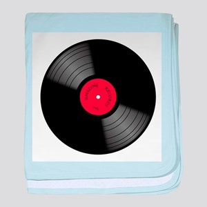 Vinyl 33rpm Record With Red Label baby blanket