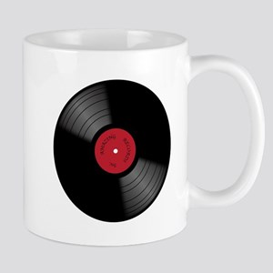 Vinyl 33rpm Record With Red Label Mugs