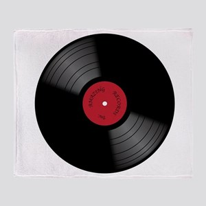 Vinyl 33rpm Record With Red Label Throw Blanket