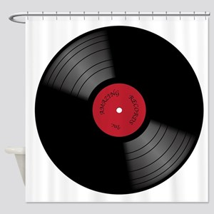 Vinyl 33rpm Record With Red Label Shower Curtain