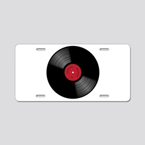 Vinyl 33rpm Record With Red Aluminum License Plate